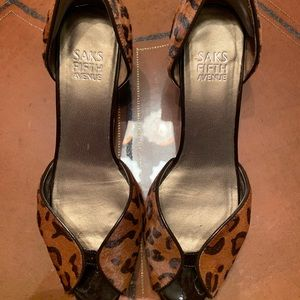 Saks 5th Avenue Brown Leopard Print Heels